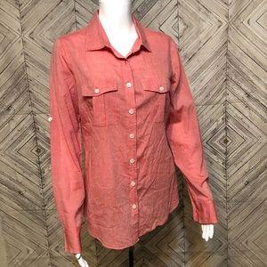 J.crew utility coral tab sleeve blouse